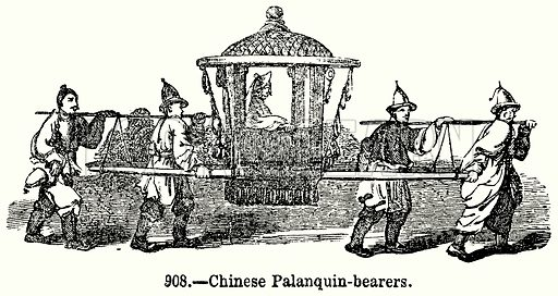Chinese Palanquin-Bearers. Illustration for Knight's Pictorial Gallery of Arts (London Printing and Publishing, c 1860).