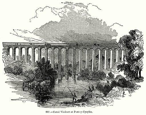 Canal Viaduct at Pont-y-Cysylte. Illustration for Knight's Pictorial Gallery of Arts (London Printing and Publishing, c 1860).