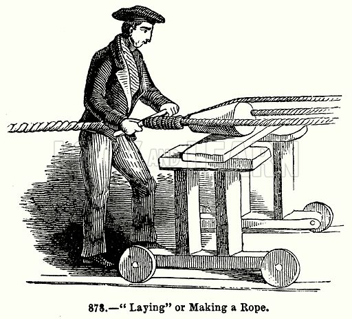 """Laying"" or Making a Rope. Illustration for Knight's Pictorial Gallery of Arts (London Printing and Publishing, c 1860)."
