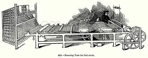 Dressing Yarn for Sail-Cloth. Illustration for Knight's Pictorial Gallery of Arts (London Printing and Publishing, c 1860).