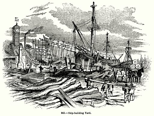 Ship-Building Yard. Illustration for Knight's Pictorial Gallery of Arts (London Printing and Publishing, c 1860).