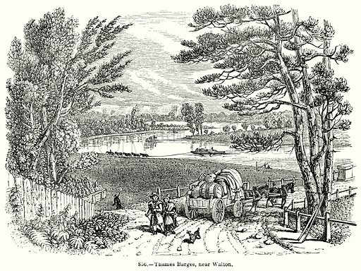 Thames Barges, near Walton. Illustration for Knight's Pictorial Gallery of Arts (London Printing and Publishing, c 1860).