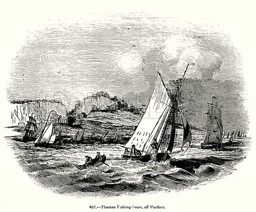 Thames Fishing-Boats, off Purfleet. Illustration for Knight's Pictorial Gallery of Arts (London Printing and Publishing, c 1860).