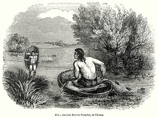 Ancient British Coracles, or Canoes. Illustration for Knight's Pictorial Gallery of Arts (London Printing and Publishing, c 1860).