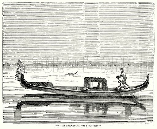 Venetian Gondola, with a Single Rower. Illustration for Knight's Pictorial Gallery of Arts (London Printing and Publishing, c 1860).