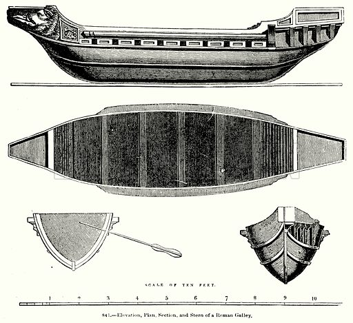 Elevation, Plan, Section, and Stern of a Roman Galley. Illustration for Knight's Pictorial Gallery of Arts (London Printing and Publishing, c 1860).