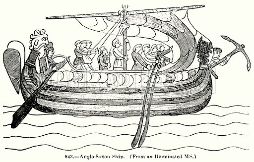 Anglo-Saxon Ship. Illustration for Knight