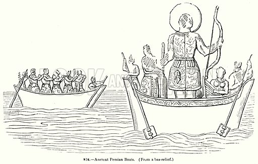 Ancient Persian Boats. Illustration for Knight's Pictorial Gallery of Arts (London Printing and Publishing, c 1860).