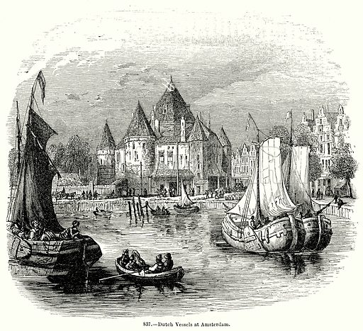 Dutch Vessels at Amsterdam. Illustration for Knight's Pictorial Gallery of Arts (London Printing and Publishing, c 1860).