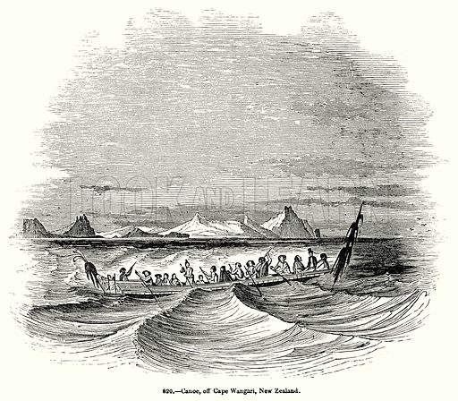 Canoe, off Cape Wangari, New Zealand. Illustration for Knight's Pictorial Gallery of Arts (London Printing and Publishing, c 1860).