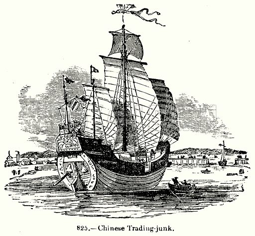 Chinese Trading-Junk. Illustration for Knight's Pictorial Gallery of Arts (London Printing and Publishing, c 1860).