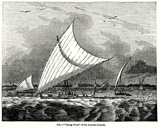"""""""Flying Proas"""" of the Ladrone Islands. Illustration for Knight's Pictorial Gallery of Arts (London Printing and Publishing, c 1860)."""