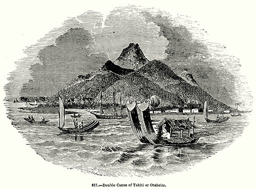 Double Canoe of Tahiti or Otaheite. Illustration for Knight's Pictorial Gallery of Arts (London Printing and Publishing, c 1860).
