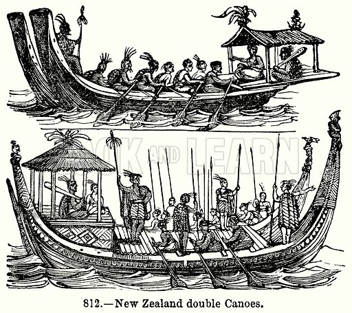 New Zealand Double Canoes. Illustration for Knight's Pictorial Gallery of Arts (London Printing and Publishing, c 1860).