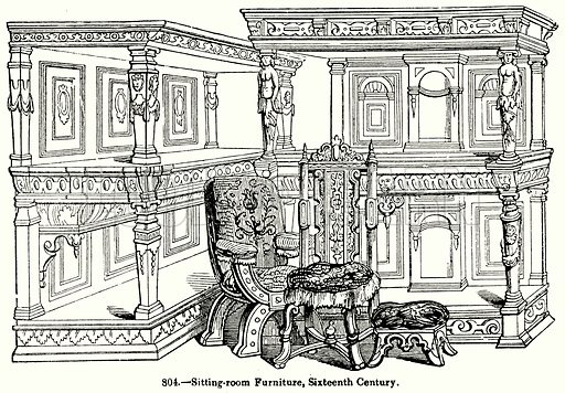 Siting-Room Furniture, Sixteenth Century. Illustration for Knight's Pictorial Gallery of Arts (London Printing and Publishing, c 1860).
