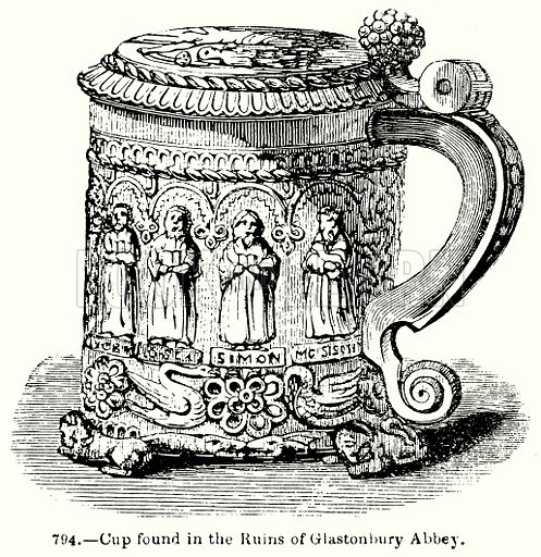 Cup found in the Ruins of Glastonbury Abbey. Illustration for Knight's Pictorial Gallery of Arts (London Printing and Publishing, c 1860).