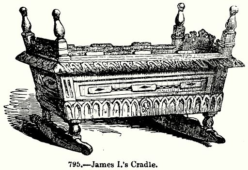 James I's Cradle. Illustration for Knight's Pictorial Gallery of Arts (London Printing and Publishing, c 1860).