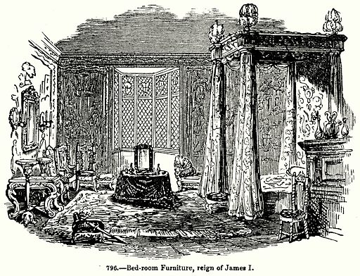 Bed-Room Furniture, Reign of James I. Illustration for Knight's Pictorial Gallery of Arts (London Printing and Publishing, c 1860).
