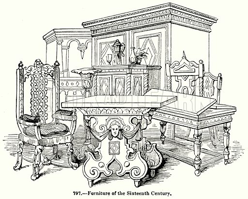 Funiture of the Sixteenth Century. Illustration for Knight's Pictorial Gallery of Arts (London Printing and Publishing, c 1860).
