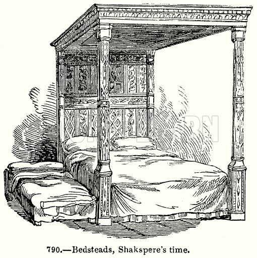 Bedsteads, Shakspere's Time. Illustration for Knight's Pictorial Gallery of Arts (London Printing and Publishing, c 1860).