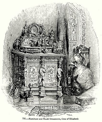 Furniture and Room Ornaments, Time of Elizabeth. Illustration for Knight's Pictorial Gallery of Arts (London Printing and Publishing, c 1860).