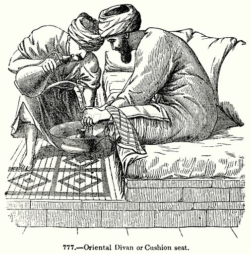 Oriental Divan or Cushion Seat. Illustration for Knight's Pictorial Gallery of Arts (London Printing and Publishing, c 1860).