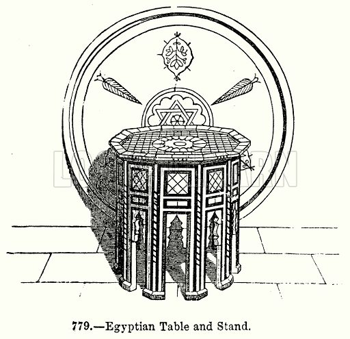 Egyptian Table and Stand. Illustration for Knight's Pictorial Gallery of Arts (London Printing and Publishing, c 1860).
