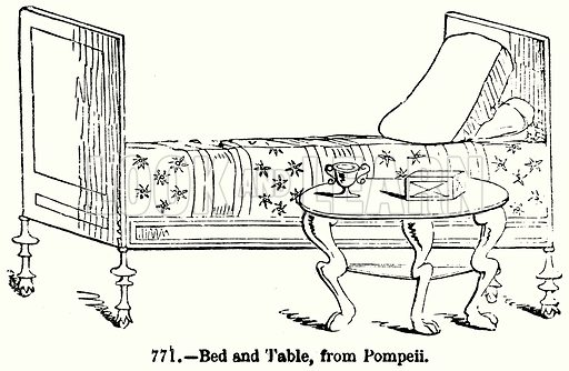 Bed and Table, from Pompeii. Illustration for Knight's Pictorial Gallery of Arts (London Printing and Publishing, c 1860).