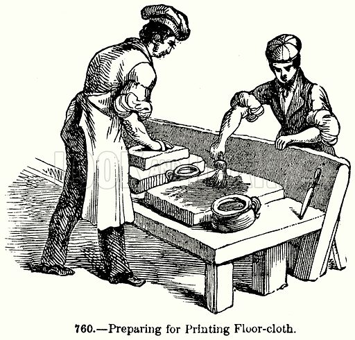 Preparing for Printing Floor-Cloth. Illustration for Knight's Pictorial Gallery of Arts (London Printing and Publishing, c 1860).