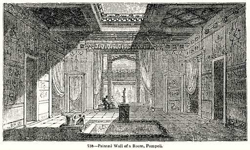 Painted Wall of a Room, Pompeii. Illustration for Knight's Pictorial Gallery of Arts (London Printing and Publishing, c 1860).