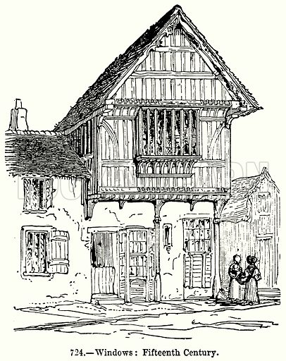Windows: Fifteenth Century. Illustration for Knight's Pictorial Gallery of Arts (London Printing and Publishing, c 1860).