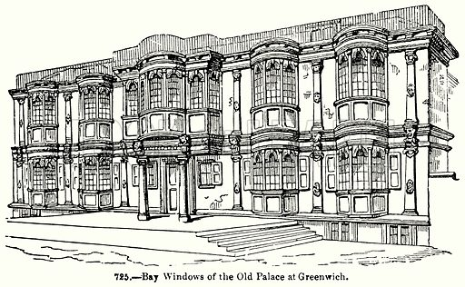 Bay Windows of the Old Palace at Greenwich. Illustration for Knight's Pictorial Gallery of Arts (London Printing and Publishing, c 1860).