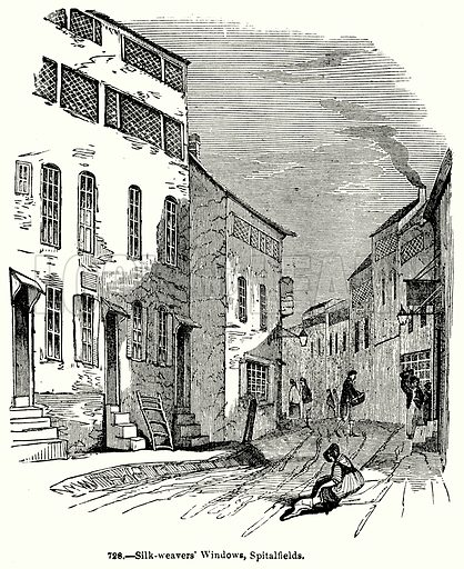 Silk-Weavers' Windows, Spitalfields. Illustration for Knight's Pictorial Gallery of Arts (London Printing and Publishing, c 1860).