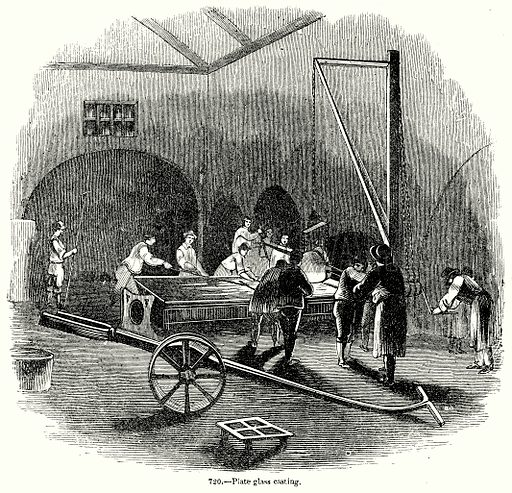 Plate Glass Casting. Illustration for Knight's Pictorial Gallery of Arts (London Printing and Publishing, c 1860).