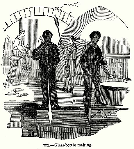 Glass-Bottle Making. Illustration for Knight's Pictorial Gallery of Arts (London Printing and Publishing, c 1860).