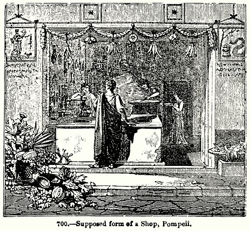 Supposed form of a Shop, Pompeii. Illustration for Knight's Pictorial Gallery of Arts (London Printing and Publishing, c 1860).