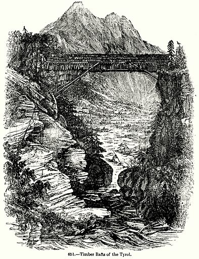 Timber Rafts of the Tyrol. Illustration for Knight's Pictorial Gallery of Arts (London Printing and Publishing, c 1860).