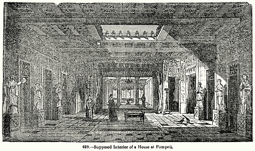 Supposed Interior of a House at Pompeii. Illustration for Knight's Pictorial Gallery of Arts (London Printing and Publishing, c 1860).
