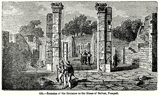 Remains of the Entrance to the House of Sallust, Pompeii. Illustration for Knight's Pictorial Gallery of Arts (London Printing and Publishing, c 1860).