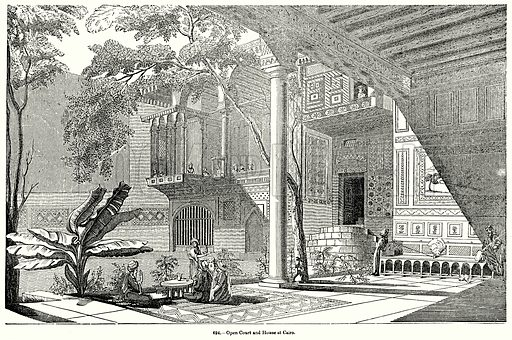 Open Court and House at Cairo. Illustration for Knight's Pictorial Gallery of Arts (London Printing and Publishing, c 1860).