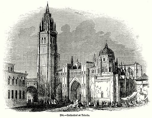 Cathedral at Toledo. Illustration for Knight's Pictorial Gallery of Arts (London Printing and Publishing, c 1860).