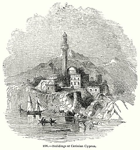Buildings at Cerinian Cyprus. Illustration for Knight's Pictorial Gallery of Arts (London Printing and Publishing, c 1860).