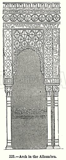Arch in the Alhambra. Illustration for Knight's Pictorial Gallery of Arts (London Printing and Publishing, c 1860).