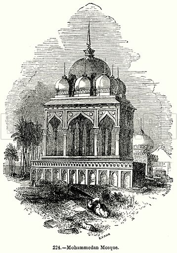 Mohammedan Mosque. Illustration for Knight's Pictorial Gallery of Arts (London Printing and Publishing, c 1860).
