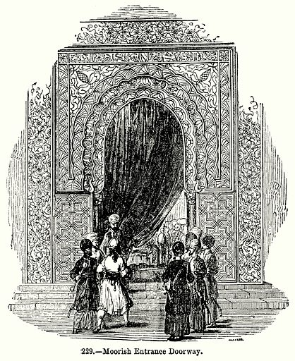 Moorish Entrance Doorway. Illustration for Knight's Pictorial Gallery of Arts (London Printing and Publishing, c 1860).