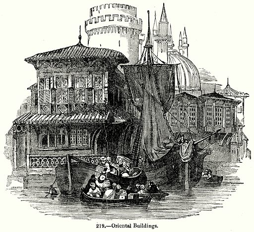Oriental Buildings. Illustration for Knight's Pictorial Gallery of Arts (London Printing and Publishing, c 1860).