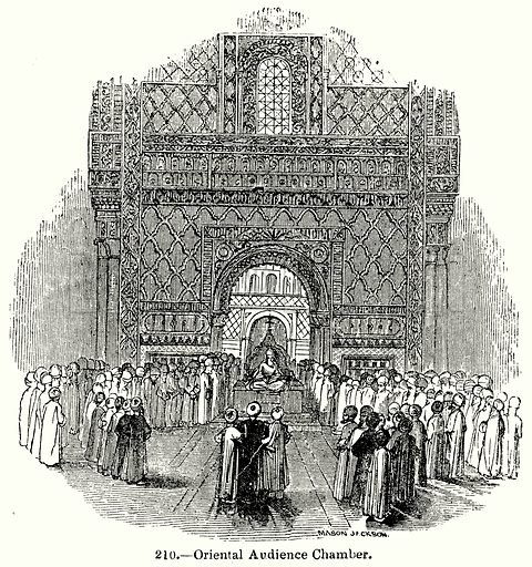 Oriental Audience Chamber. Illustration for Knight's Pictorial Gallery of Arts (London Printing and Publishing, c 1860).