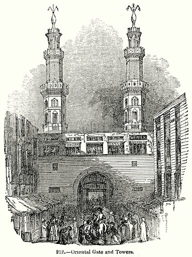 Oriental Gate and Towers. Illustration for Knight's Pictorial Gallery of Arts (London Printing and Publishing, c 1860).