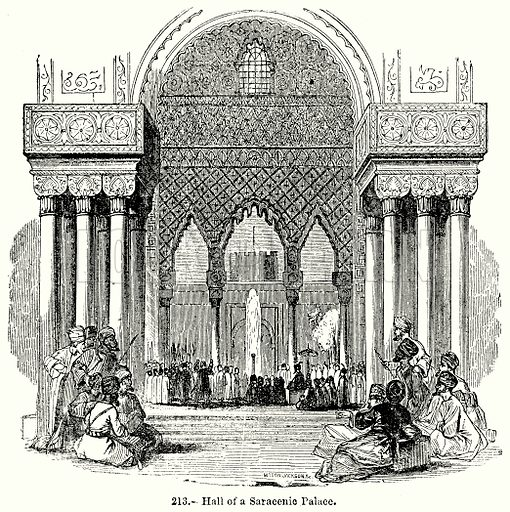 Hall of a Saracenic Palace. Illustration for Knight's Pictorial Gallery of Arts (London Printing and Publishing, c 1860).