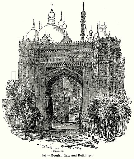 Moorish Gate and Buildings. Illustration for Knight's Pictorial Gallery of Arts (London Printing and Publishing, c 1860).
